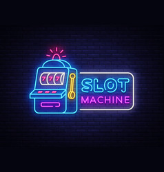 slot machine neon sign casino design vector image
