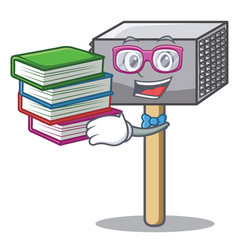Student with book meat hammer utensil isolated on vector