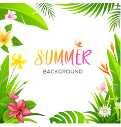 summer tropical flower and green leaf vector image