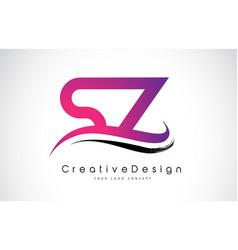 Sz s z letter logo design creative icon modern vector