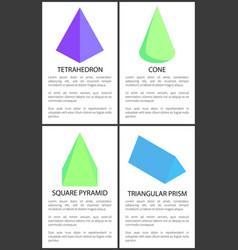 Tetrahedron cone square pyramid triangular prism vector