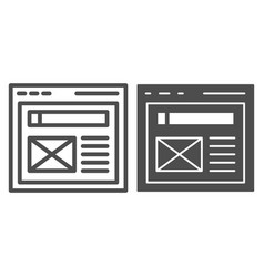 The browser line and glyph icon website window vector