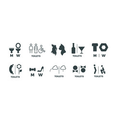 Toilet signs he she wc door symbols man and vector