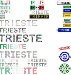 Trieste text design set vector
