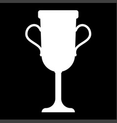 Trophy cup it is the white color icon vector