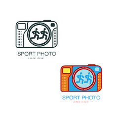 two camera logo templates for sport photographer vector image