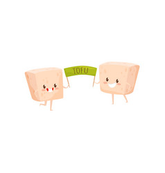 Two funny tofu characters holding green poster vector