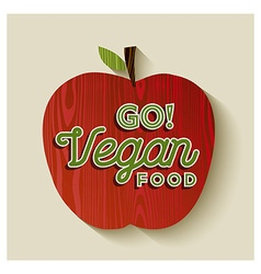 Vegan apple concept with text label vector image