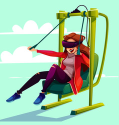 Vr simulator paragliding entertainment vector