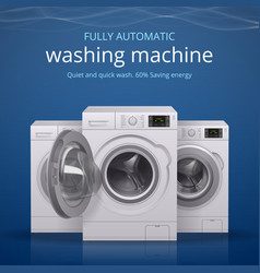Washing machine realistic poster vector
