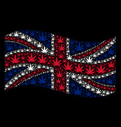 waving united kingdom flag collage of cannabis vector image