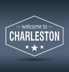 Welcome to Charleston hexagonal white vintage vector