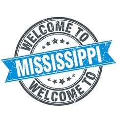 Welcome to Mississippi blue round vintage stamp vector