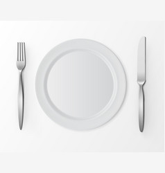 White Plate with Fork and Knife Table Setting vector
