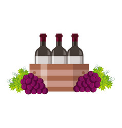 wine bottles on basket and grapes vector image