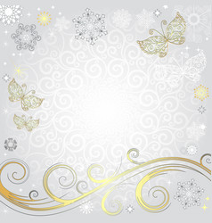 winter silvery christmas frame vector image