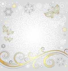 Winter silvery christmas frame vector