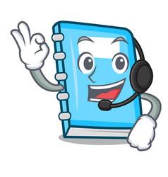 with headphone education mascot cartoon style vector image
