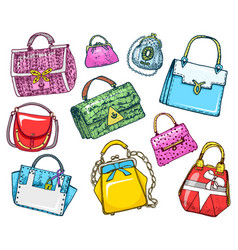 Women s bags vintage style hand drawn doodle vector