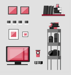 workplace photographer photo equipment and vector image