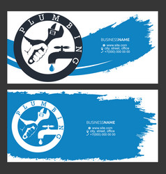 Wrench in hand business card for plumber vector