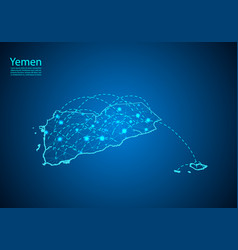 Yemen map with nodes linked by lines concept of vector