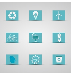 Eco friendly icon set in lovely blue and silver vector image