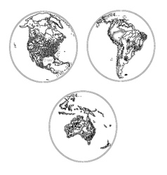 Globes scheme settlements America and Australia vector image