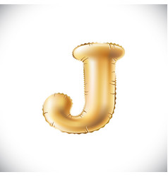 Golden letter j made of inflatable balloon vector