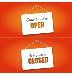Open And Closed Door Signs Board vector image