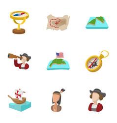 pioneer icons set cartoon style vector image vector image