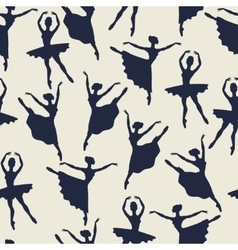 Seamless pattern of ballerinas silhouettes in vector image