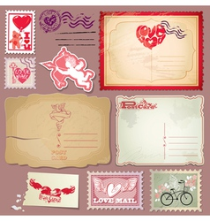 Set of vintage postcards and post stamps for Valen vector image