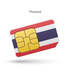 Thailand mobile phone sim card with flag vector image