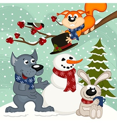 animals make snowman vector image vector image