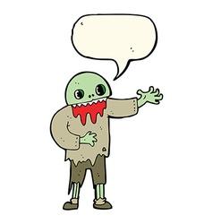 Cartoon spooky zombie with speech bubble vector