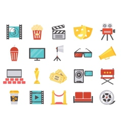 Modern cinema icons in flat style vector image