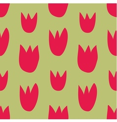 Seamless floral pattern with hand drawn red tulips vector image vector image