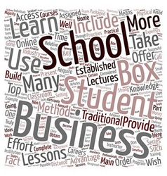 Business school in a box text background wordcloud vector