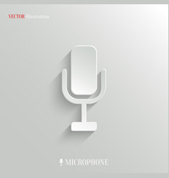 Microphone icon - white app button vector image