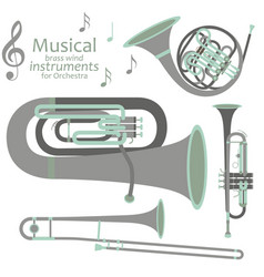 musical brass wind instruments for orchestra vector image