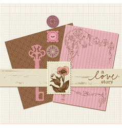 scrapbook vintage design elements vector image vector image