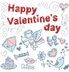 Doodle Valentines day scrapbook love postcard vector image vector image