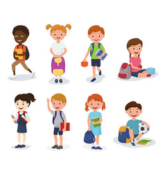 group of school kids boys and girls children with vector image