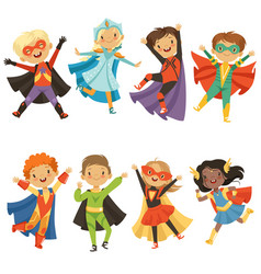 kids in superhero costumes funny characters vector image
