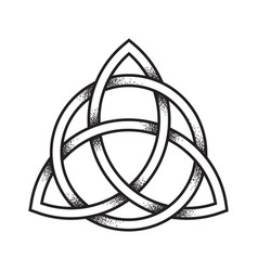 triquetra or trinity knot hand drawn dot work vector image vector image