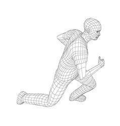 wire frame running man vector image
