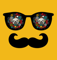 abstract face man in glasses with moustaches vector image