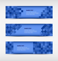 Abstract horizontal banners with blue squares vector image