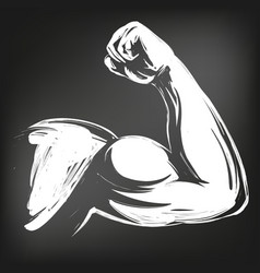 arm bicep strong hand icon cartoon symbol hand vector image